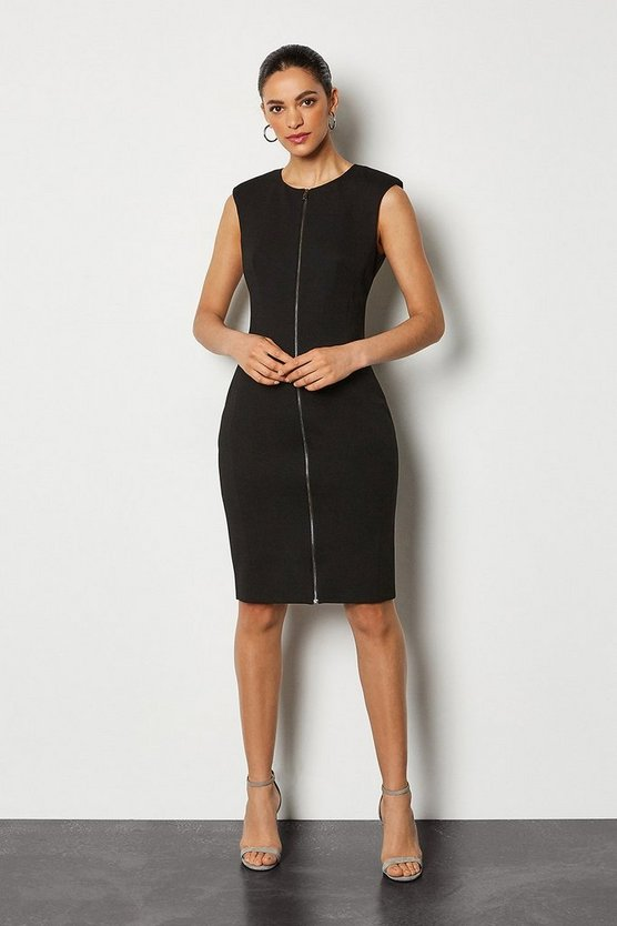 Black Zip Front Ponte Pencil Dress