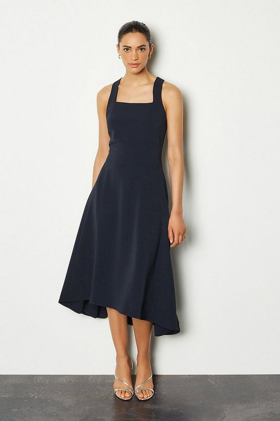 Navy Square Neck Fluid Day Dress