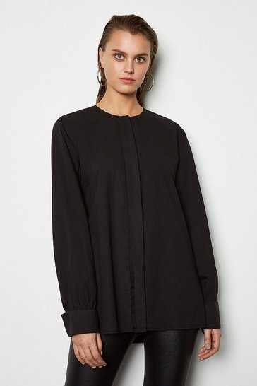 Womens Black Oversized Poplin Shirt
