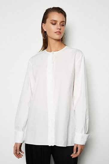 Womens White Oversized Poplin Shirt
