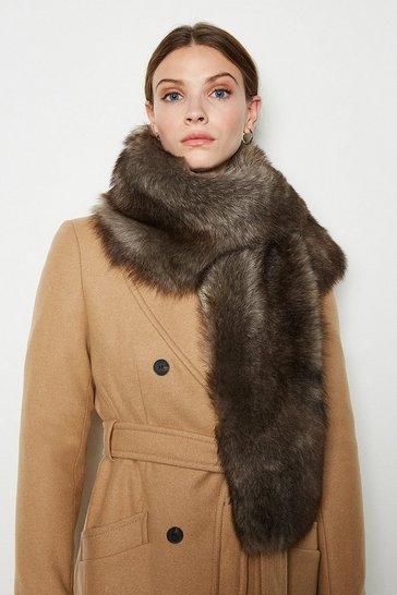 Womens Brown Sheepskin Scarf