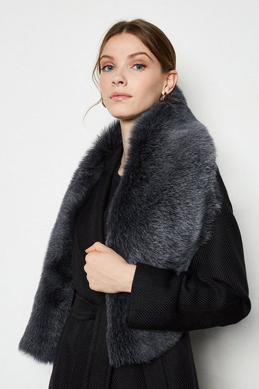 Charcoal Forever Faux-Fur Collar Scarf