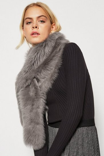 Light grey Forever Faux-Fur Collar Scarf