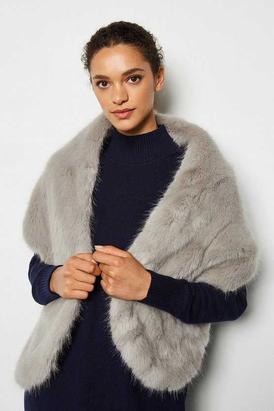 Grey Wrap Over Faux Fur Scarf