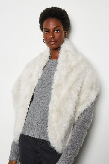 White Wrap Over Faux Fur Scarf