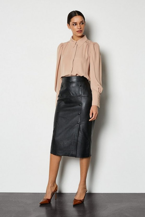 Black Double Button Leather Pencil Skirt