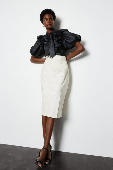 Ivory Double Button Leather Pencil Skirt