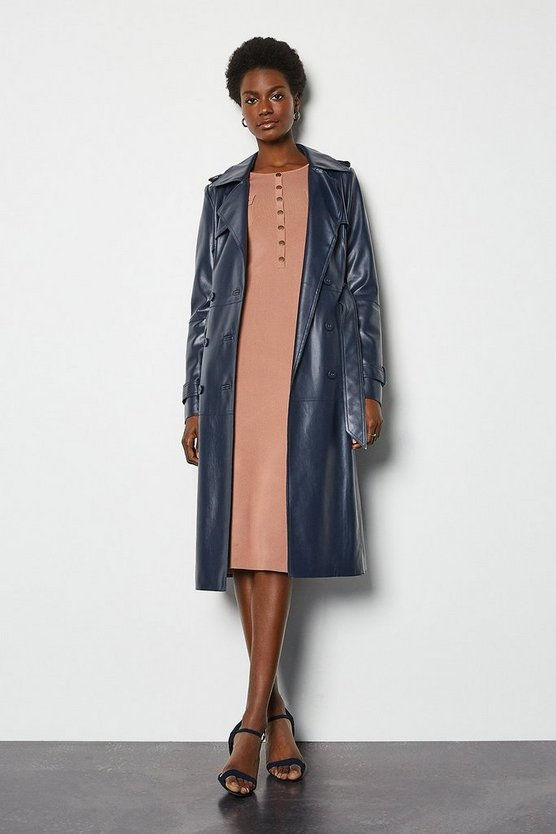Faux Leather Navy Trench Coat
