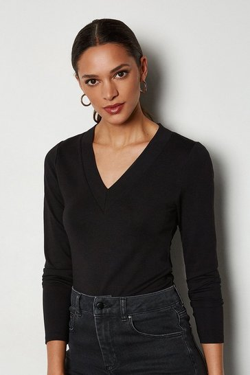 Black V-Neck Ponte T-Shirt