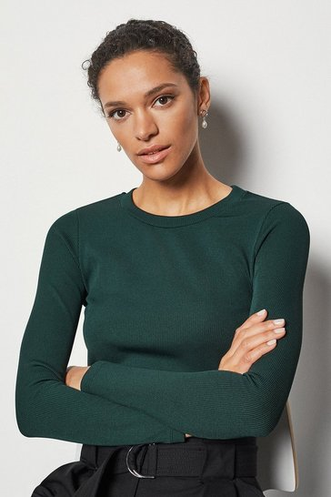 Womens Green Skinny Rib Jersey Top