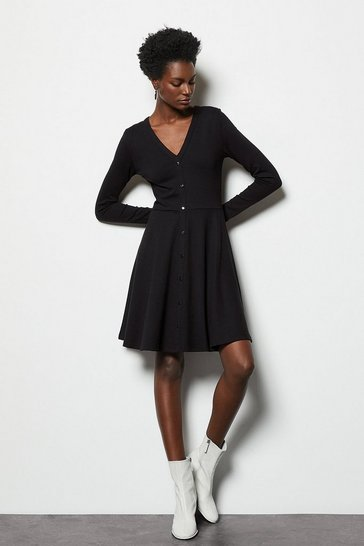 Black Button Through Jersey Dress