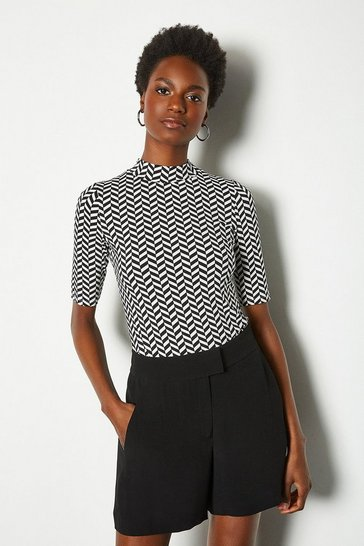 Womens Blackwhite Herringbone Print T-Shirt