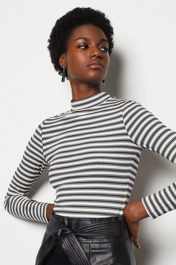 Womens Blackwhite Stripey Rib Funnel T-Shirt