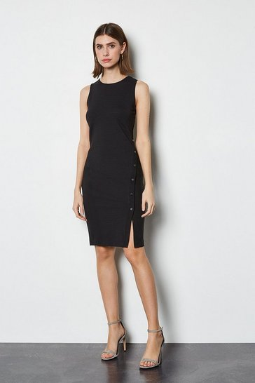 Black Popper Detail Dress