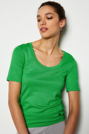 Green Scoop Neck Jersey Top