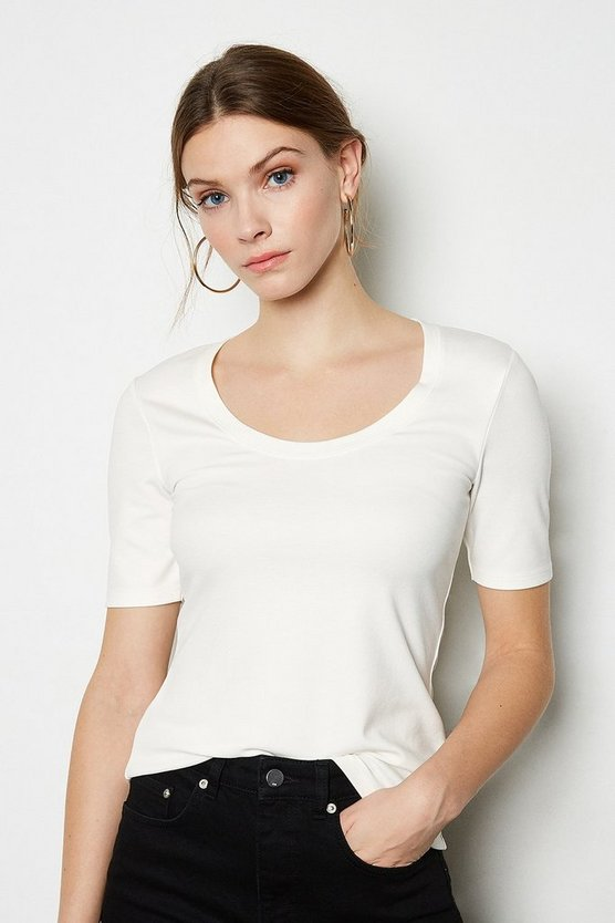 Ivory Scoop Neck Jersey Top