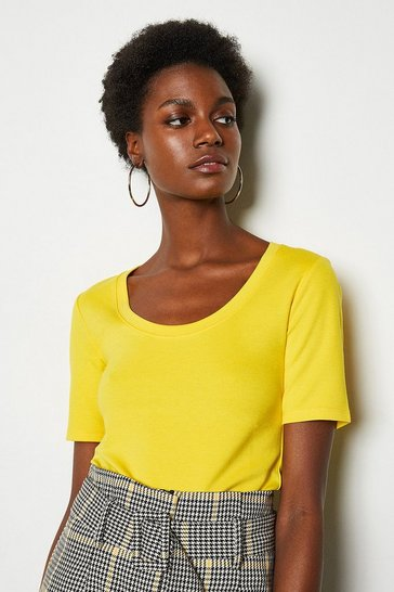 Yellow Scoop Neck Jersey Top