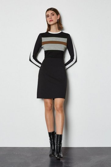 Black  sporty stripe mini dress