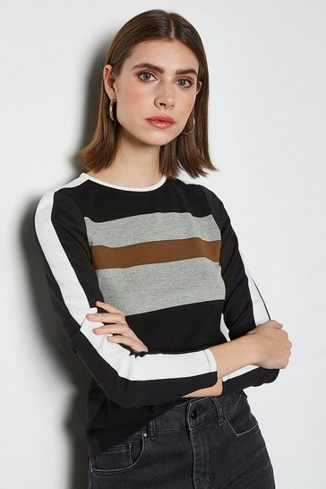 Black Sporty Colourblock Jersey Top