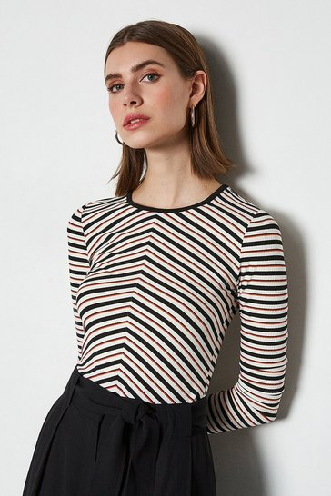 Multi  Ribbed Stripe Jersey Tee