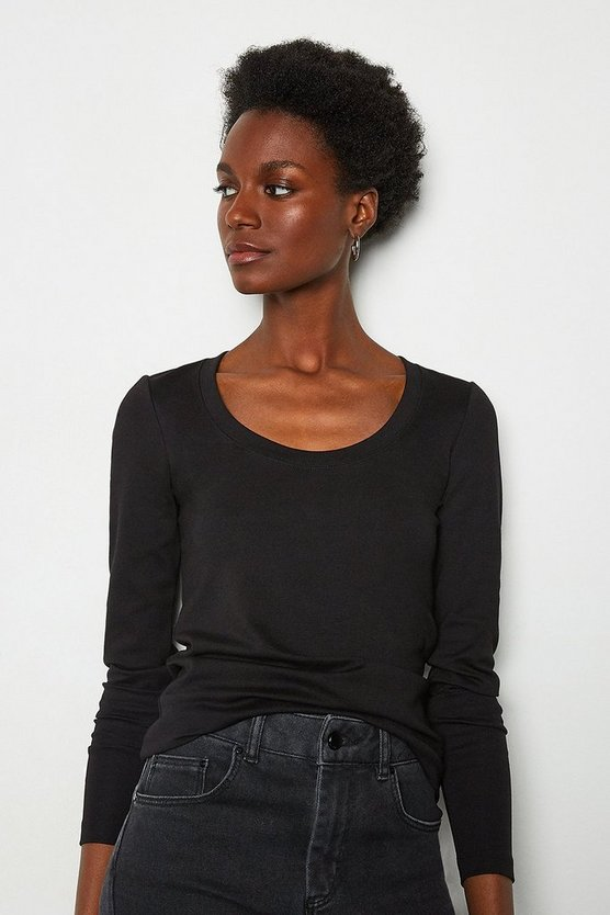 Black Scoop Neck Ponte Top