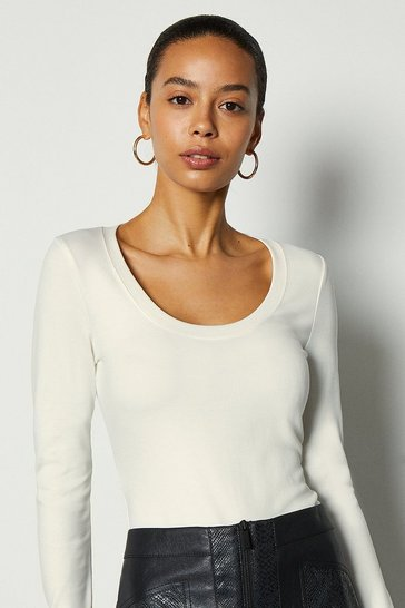 Ivory Scoop Neck Ponte Top