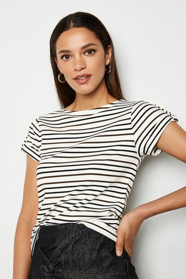 Ivory  Stripe Turn Back Cuff Tshirt