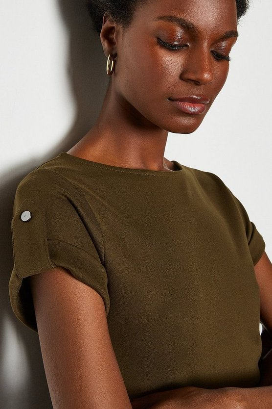 Khaki Turn Up Cuff T Shirt