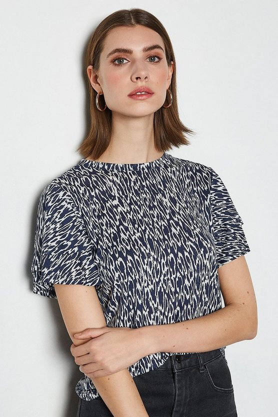 Blue Animal Print Flute Sleeve Top