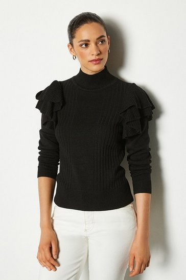 Womens Black Ruffle Sleeve Knit Jumper