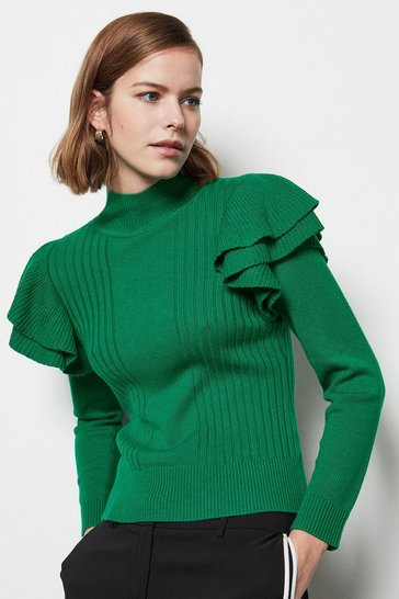 Womens Green Ruffle Sleeve Knit Jumper