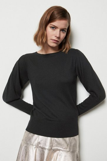 Womens Black Volume Sleeve Jumper
