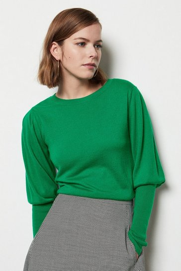 Womens Green Volume Sleeve Jumper