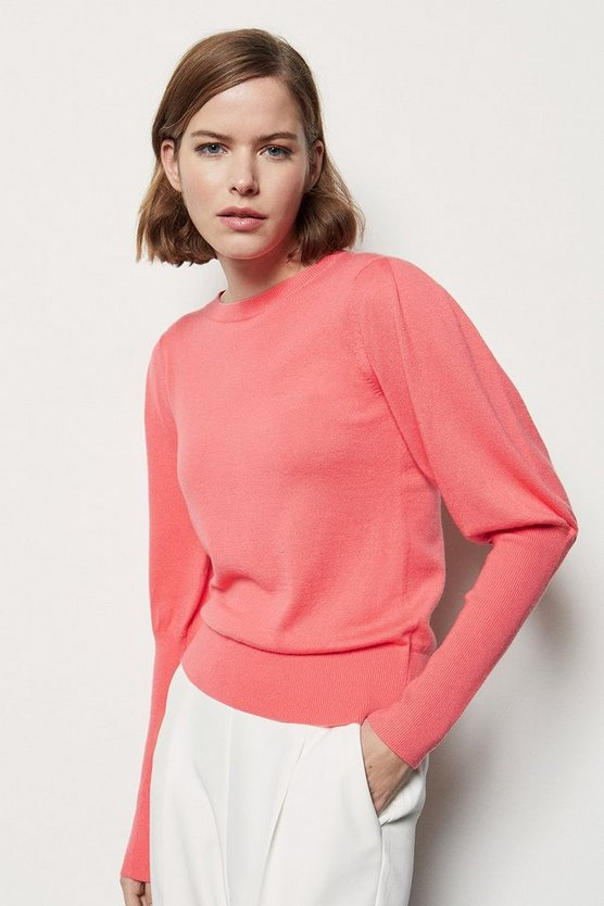 Womens Pink Volume Sleeve Jumper