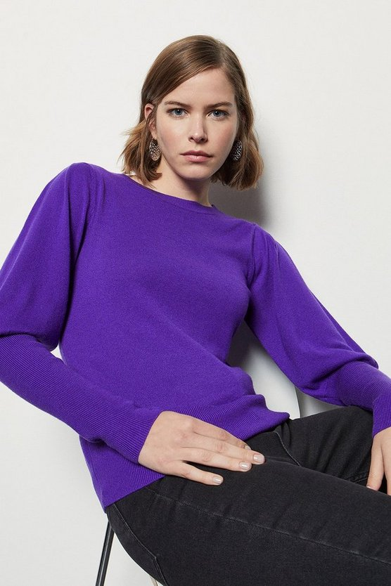 Womens Purple Volume Sleeve Jumper