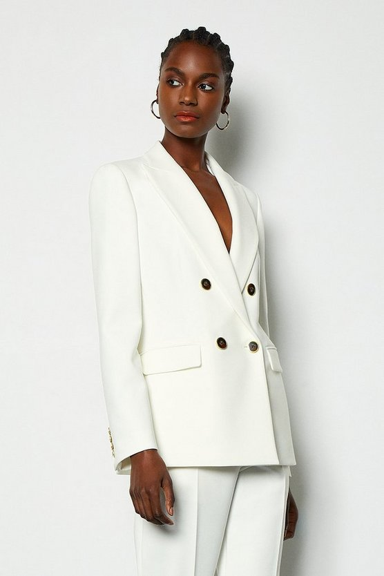 Ivory Tailored Double-Breasted Jacket