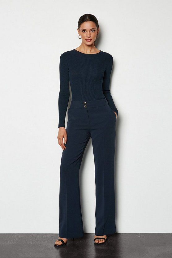 Blue Tailored Kick-Flare Trousers