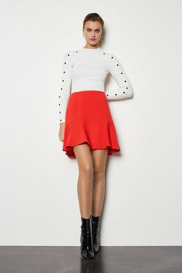 Red Flippy Mini Skirt