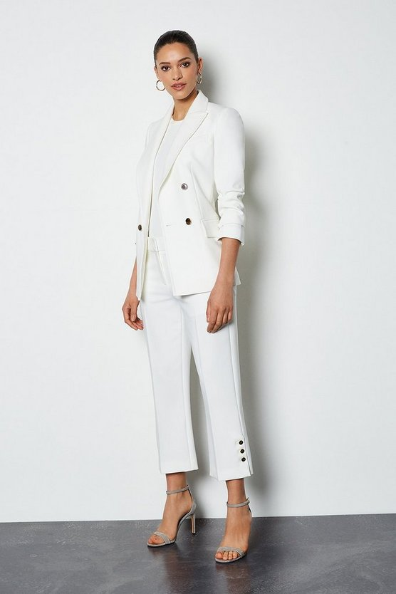 Ivory Button Trim Cropped Trousers