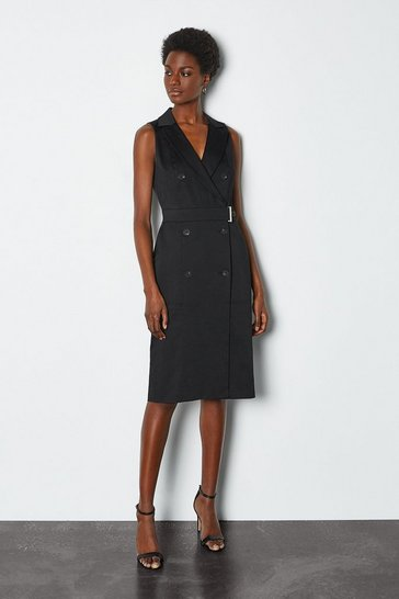 Black Sleek and Sharp Tailoring Dress