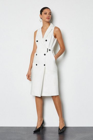 Ivory Sleek and Sharp Tailoring Dress