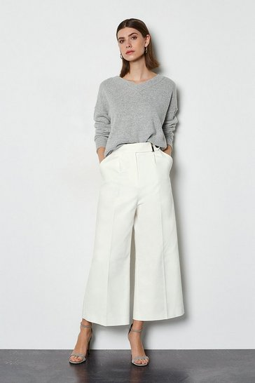 Ivory Sleek and Sharp Tailoring Trouser