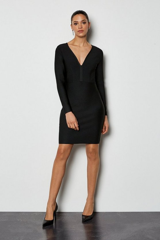 Black Long Sleeve Deep V Short Bandage Dress