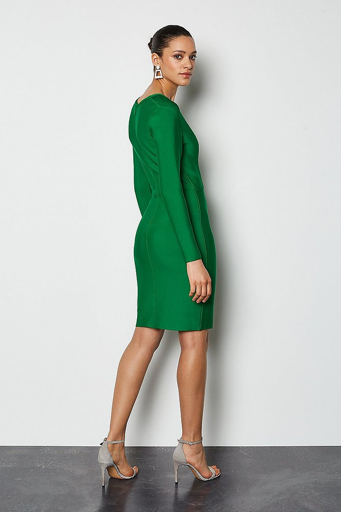 Long Sleeve Deep V Short Bandage Dress Karen Millen