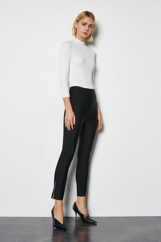 Black Slim Knitted Zip Detail Trousers