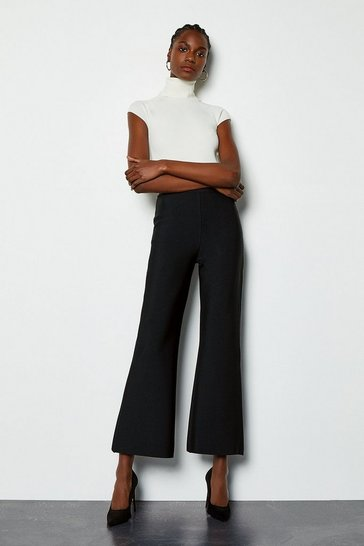 Black Slim Boot Cut Trousers