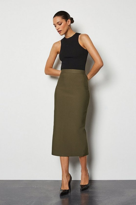 Khaki Knitted Midi Pencil Skirt
