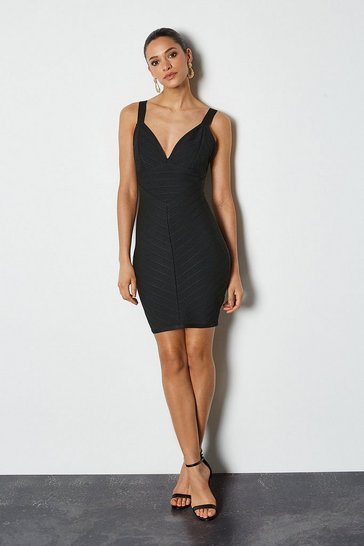 Black Sleeveless Stripe Bandage Dress