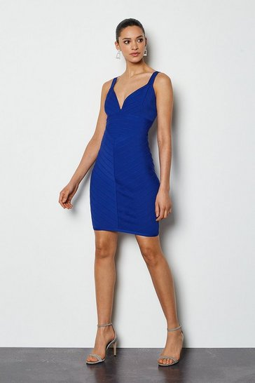 Blue Sleeveless Stripe Bandage Dress