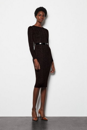 Womens Bronze Metallic Rib Knit Midi Dress
